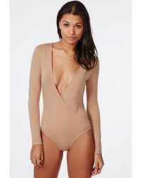 Missguided Long Sleeve Wrap Over Plunge Bodysuit Nude - Lyst