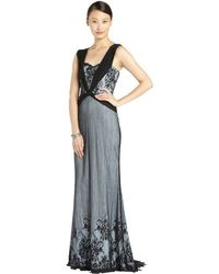 Badgley Mischka Light Blue and Black Plunging Lace Overlay Gown - Lyst