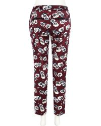 River Island Dark Red Floral Print Slim Cigarette Pants - Lyst