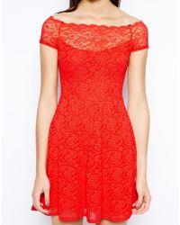 TFNC Bardot Lace Dress With Scallop Neckline - Lyst