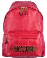 Moschino Leather Red Backpack With Logo red - Lyst