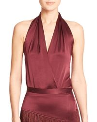 Tamara Mellon Draped Silk Halter Top - Lyst