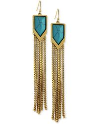 Vince Camuto - Goldtone Turquoise Stone and Fringe Drop Earrings - Lyst