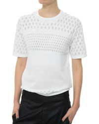Helmut Lang Short Sleeve Graphic Burnout white - Lyst