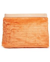 Asos Premium Faux Fur Front Clutch Bag - Lyst