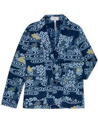 Paul Smith Indigo-Dyed Kimono River Print Cotton Blazer blue - Lyst