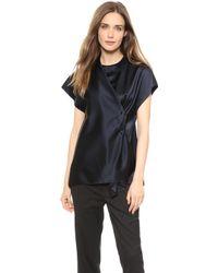 3.1 Phillip Lim Crossover Drape Shirt Navy - Lyst