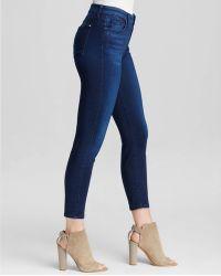 Jen7 - Cropped Skinny Jeans In Blue Sateen - Lyst