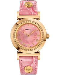 Versace Ladies Goldtone Pink Vanity Watch - Lyst