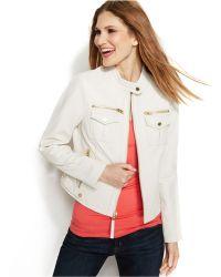 Michael Kors Michael Petite Leather Moto Jacket - Lyst