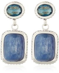 Stephen Dweck - Silver Blue Topaz Kyanite Drop Earrings - Lyst