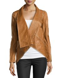 Donna Karan New York Leather Jacket With Stretch Jersey Inset brown - Lyst