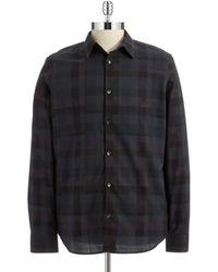 Calvin Klein Checked Cotton Sportshirt - Lyst