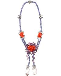 Wendy Yue Carved Coral Floral Necklace - Lyst