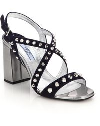 Prada Studded Suede & Metallic Leather Sandals blue - Lyst