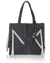 Topshop Zippy Leather Tote Bag black - Lyst