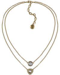 Sam Edelman Double Row Crystal Stone Necklace - Lyst