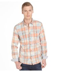 Fresh Orange and Blue Pique Button Front Long Sleeve Shirt - Lyst