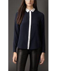 Burberry Colour Block Silk Shirt - Lyst