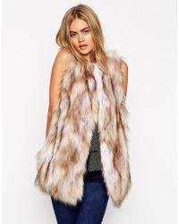 Asos Faux Fur Vest In Longline - Lyst