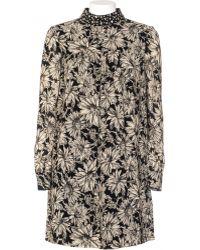 Saint Laurent | Silk Dress Tunic Printed Collar Worked | Lyst