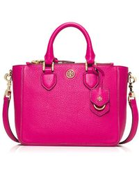 Tory Burch Robinson Pebbled Mini Square Tote - Lyst