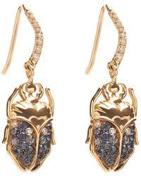 Aurelie Bidermann Beetle Diamond, Sapphire & Gold Earrings - Lyst