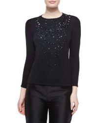 Carolina Herrera Jewel-Embellished Scallop-Trimmed Top black - Lyst