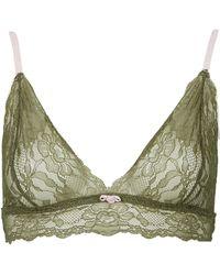 Topshop Womens Lace Triangle Bra  Khaki - Lyst