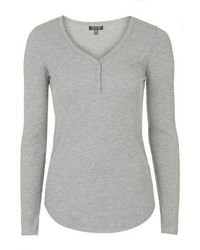 Topshop Ribbed Long Sleeve Top - Lyst
