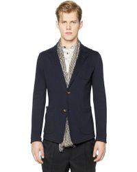 Giorgio Armani Cotton Blend Jersey Piqué Blazer blue - Lyst