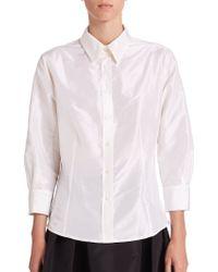 Carolina Herrera Night Collection Silk Taffeta Blouse white - Lyst
