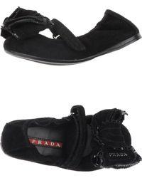 Prada Sport Black Ballet Flats - Lyst