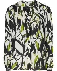 Reiss Delores Silk Painterly Print Blouse - Lyst