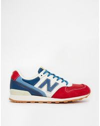 New Balance 996 Suede Red White  Blue Sneakers - Lyst