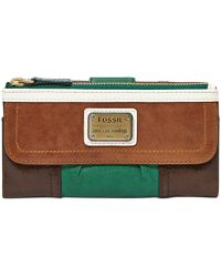 Fossil Emory Leather Colorblock Clutch green - Lyst