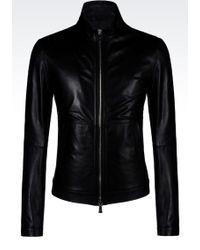 Emporio Armani Light Leather Jacket - Lyst