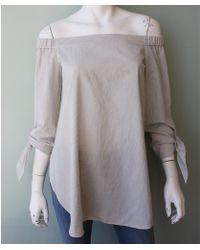 Tibi | Stripe Shirting Off Shoulder Tunic | Lyst
