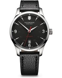Victorinox Alliance Dark Gray Dial Black Leather Strap Watch, 40Mm - Lyst