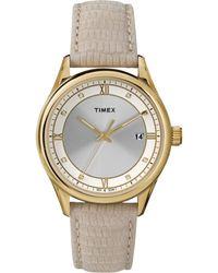 Timex® Women'S Beige Lizard-Pattern Leather Strap Watch 36Mm T2P556Ab - Lyst
