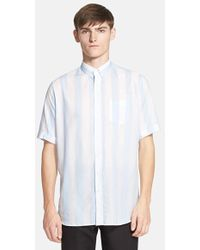 AMI Trim Fit Stripe Short Sleeve Oversize Shirt - Lyst
