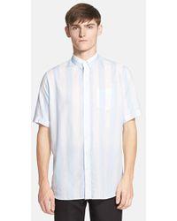 AMI Trim Fit Stripe Short Sleeve Oversize Shirt - Lyst