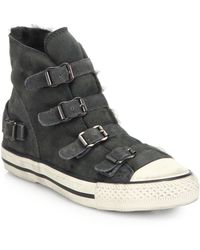 Ash Virginy Shearling-Lined Suede High-Top Sneakers - Lyst