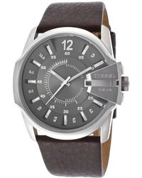 Diesel Mens Master Chief Dark Brown Genuine Leather Gunmetal Dial - Lyst