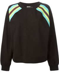 DKNY Striped Shoulder Sweatshirt - Lyst