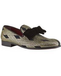 Dolce & Gabbana Velvet Bow Diamond Weave Slipper Shoe - Lyst