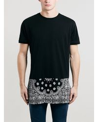 Topman Black Bandana Longline Fit T-shirt - Lyst