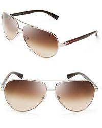 Prada Thin Temple Aviator Sunglasses - Lyst