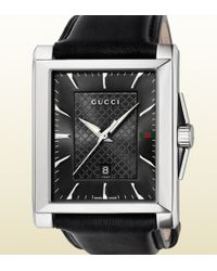 Gucci G-timeless Medium Stainless Steel And Leather Rectangle Watch - Lyst