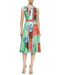 Carolina Herrera Carnation Floral Twill Silk Dress - Lyst